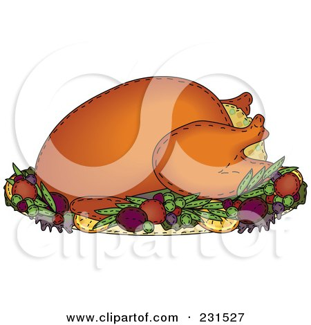 Royalty-Free (RF) Clipart Illustration of a Sewn Folk Art Styled Stuffed Roasted Thanksgiving Turkey by inkgraphics