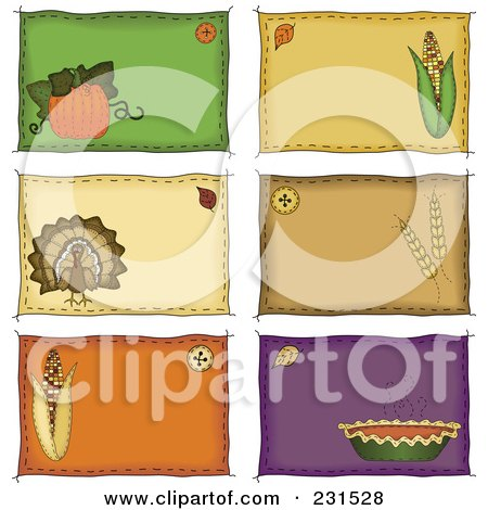 Royalty-Free (RF) Clipart Illustration of a Digital Collage Of Sewn Folk Art Styled Labels by inkgraphics
