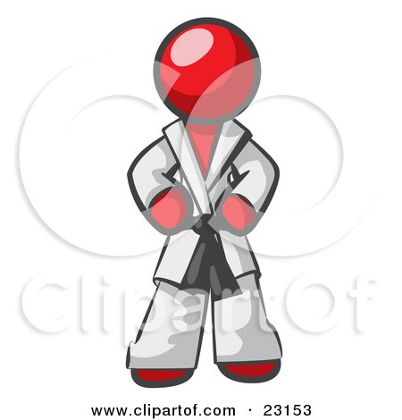 Clipart Illustration of a Tough Red Man In A White Karate Suit And A Black Belt, Standing With His Hands On His Hips by Leo Blanchette