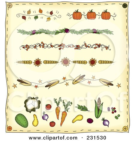 Royalty-Free (RF) Clipart Illustration of a Digital Collage Of Folk Art Thanksgiving Dividers On Beige by inkgraphics