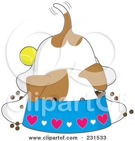 Royalty-Free (RF) Clipart Illustration of a Cute Puppy Dog Eating With His Head Deep In A Bowl by Maria Bell
