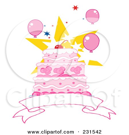 RoyaltyFree RF Clipart of Birthday Cakes Illustrations Vector
