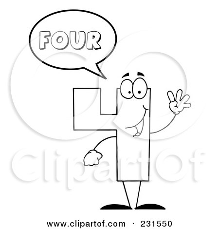 Royalty-Free (RF) Clipart Illustration of a Coloring Page Outline Of A Number Four Character Saying Four by Hit Toon