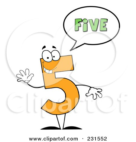 Royalty-Free (RF) Clipart Illustration of a Number Five Character Saying Five by Hit Toon