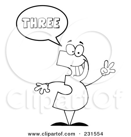 Royalty-Free (RF) Clipart Illustration of a Coloring Page Outline Of A Number Three Character Saying Three by Hit Toon