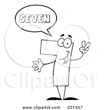 Royalty-Free (RF) Clipart Illustration of a Coloring Page Outline Of A Number Seven Character Saying Seven by Hit Toon