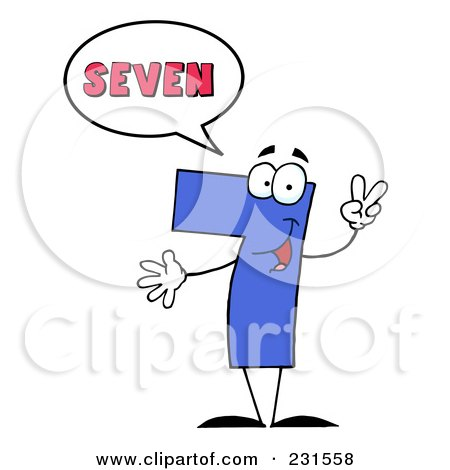 Royalty-Free (RF) Clipart Illustration of a Number Seven Character Saying Seven by Hit Toon