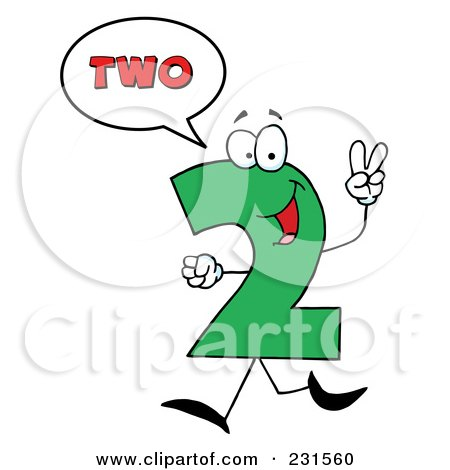 Royalty-Free (RF) Clipart Illustration of a Number Two Character Saying Two by Hit Toon