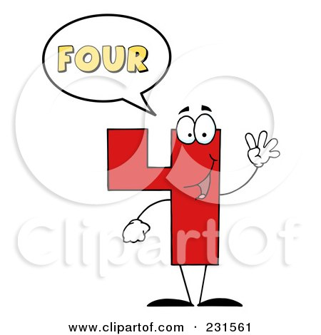 Royalty-Free (RF) Clipart Illustration of a Number Four Character Saying Four by Hit Toon