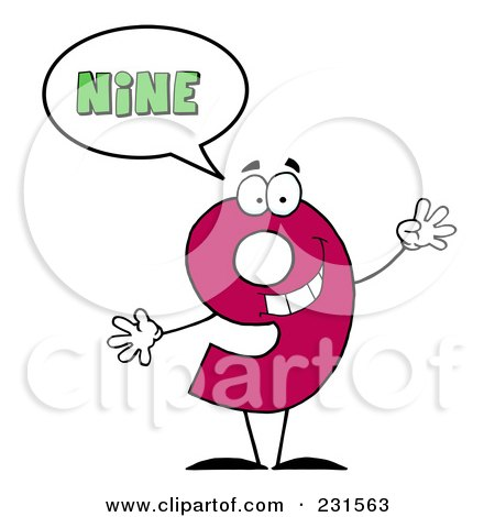 Royalty-Free (RF) Clip Art Illustration of a Number Nine Character Saying Nine by Hit Toon