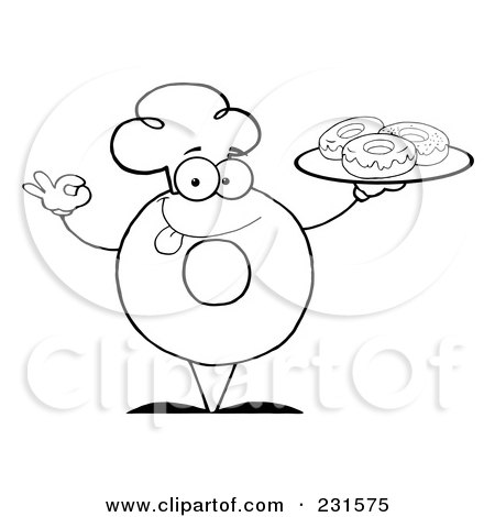 Royalty Free RF Clipart Illustration Of A Coloring Page Outline Donut Character Wearing Chef Hat And Serving Donuts By Hit Toon