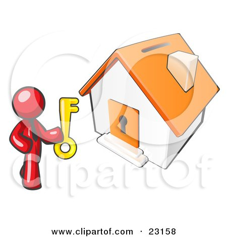 Clipart Illustration of a Red Businessman Holding A Skeleton Key And Standing In Front Of A House With A Coin Slot And Keyhole by Leo Blanchette