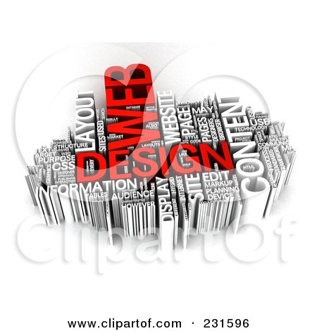 Royalty-Free (RF) Clipart Illustration of a 3d Red And Silver Word Collage Of Web Design Words by MacX