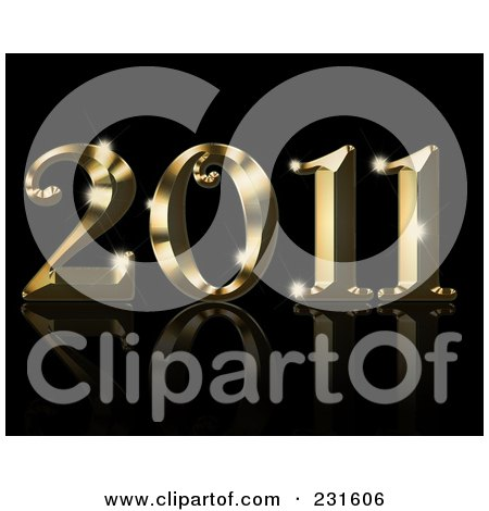 Royalty-Free (RF) Clipart Illustration of a Shiny Golden 2011 On A Reflective Black Background by KJ Pargeter