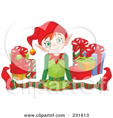 Royalty-Free (RF) Clipart Illustration of a Happy Christmas Elf Doing The Splits By Gifts by Pushkin