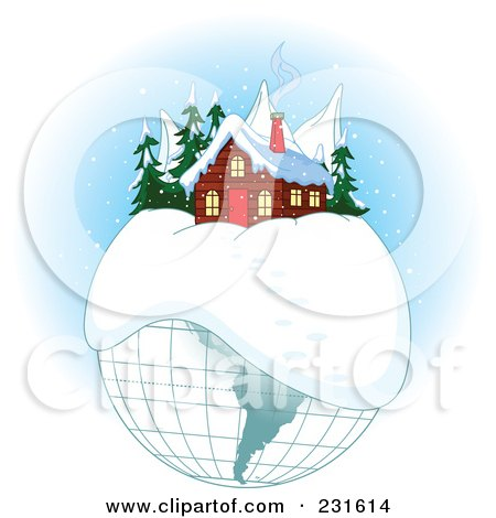 Royalty-Free (RF) Clipart Illustration of a Cabin On A Winter Globe by Pushkin