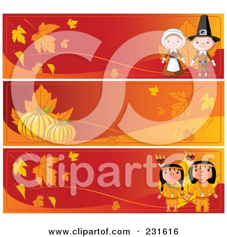 Royalty-Free (RF) Clipart Illustration of a Digital Collage Of Red And Orange Thanksgiving Website Banners by Pushkin