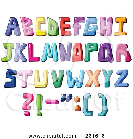 Royalty-Free (RF) Clipart Illustration of a Digital Collage Of Colorful Capital Letters And Punctuation by yayayoyo