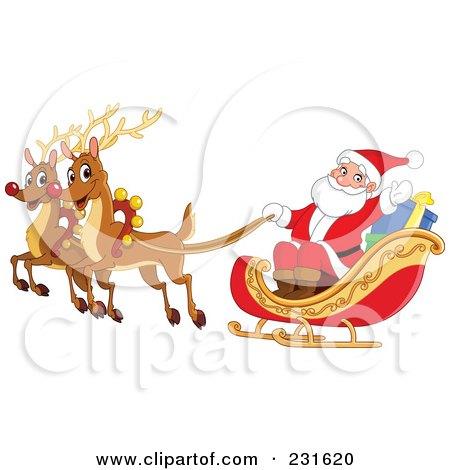 Royalty-Free (RF) Clipart Illustration of Santas Magic Reindeer And Sleigh Flying by yayayoyo