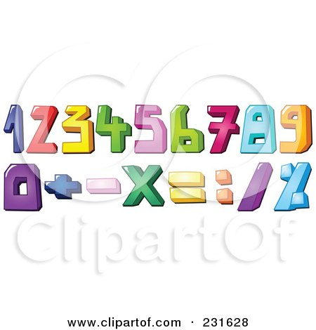 Royalty-Free (RF) Clipart Illustration of a Digital Collage Of Colorful Number And Math Symbols by yayayoyo