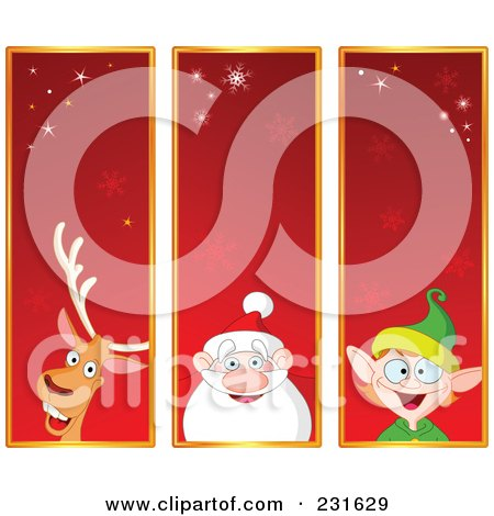 Royalty-Free (RF) Clipart Illustration of a Digital Collage Of Red Reindeer, Santa And Christmas Elf Banners by yayayoyo