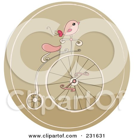 Pink Bird On A Retro Penny Farthing Bicycle In A Brown Circle Posters, Art Prints