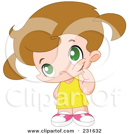 Royalty-Free (RF) Clipart Illustration of a Cute Little Girl In Thought by yayayoyo