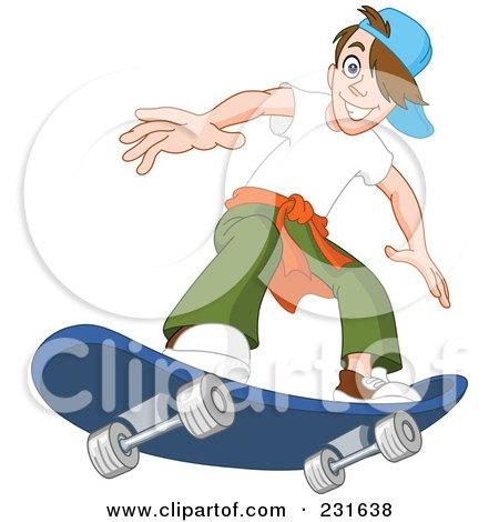 Royalty-Free (RF) Clipart Illustration of a Teen Boy On A Blue Skateboard by yayayoyo