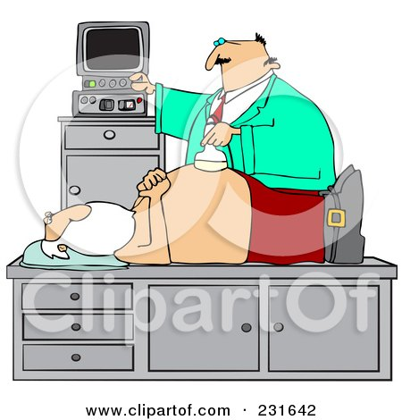 Royalty-Free (RF) Clipart Illustration of a Doctor Giving Santa An Ultrasound On His Belly by djart