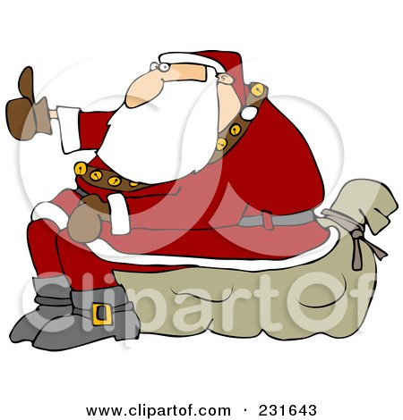 Royalty-Free (RF) Clipart Illustration of Santa Sitting On His Sack And Hitchhiking by djart