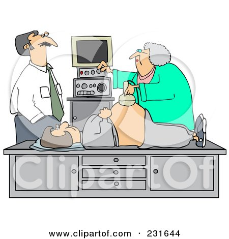 Royalty-Free (RF) Clipart Illustration of a Man Watching An Ultrasound Technician Taking A Sonograph Of His Pregnant Wife's Belly by djart