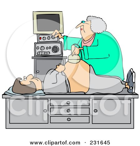 Royalty-Free (RF) Clipart Illustration of an Ultrasound Technician Taking A Sonograph Of A Pregnant Woman's Belly by djart
