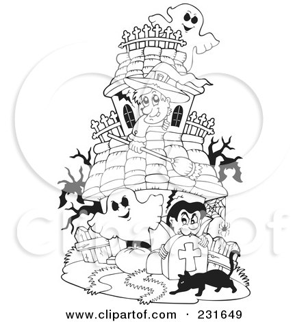 Royaltyfree Rf Clipart Of A Coloring Page Outline Witch Ghosts And Vampire At Haunted House By Visekart