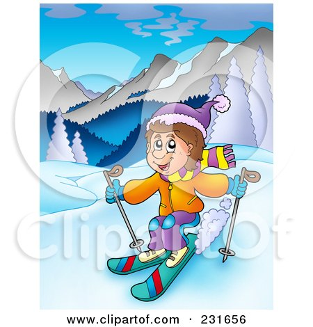 Royalty-Free (RF) Clipart Illustration of a Boy Skiing In A Mountainous Landscape by visekart