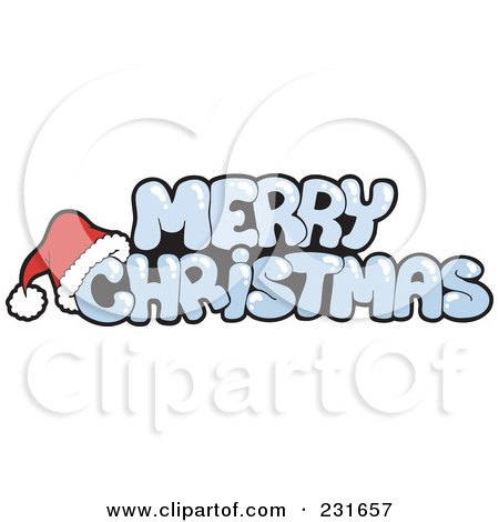 Royalty-Free (RF) Clipart Illustration of a Santa Hat On Icy Merry Christmas Text by visekart