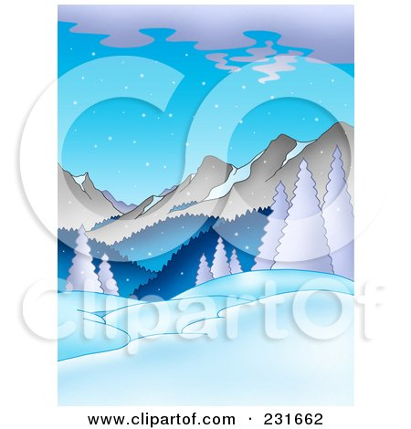 Royalty-Free (RF) Clipart Illustration of a Dusk Mountainous Landscape by visekart