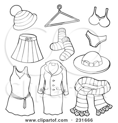 Royalty-Free (RF) Clipart Illustration of a Digital Collage Of Outlined Apparel - 3 by visekart