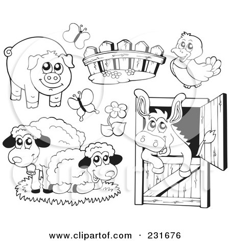 Royalty-Free (RF) Clipart Illustration of a Digital Collage Of Outlined Farm Animals by visekart
