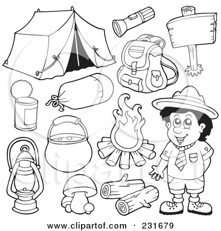 Royalty-Free (RF) Clipart Illustration of a Digital Collage Of Outlined Camping Gear by visekart