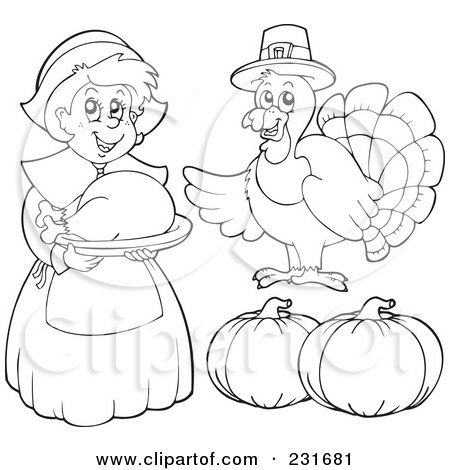Royalty-Free (RF) Clipart Illustration of a Digital Collage Of An Outlined Female Pilgrim, Turkey And Pumpkins by visekart