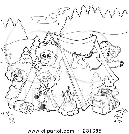 Royalty Free Rf Clipart Illustration Of A Camping Kids