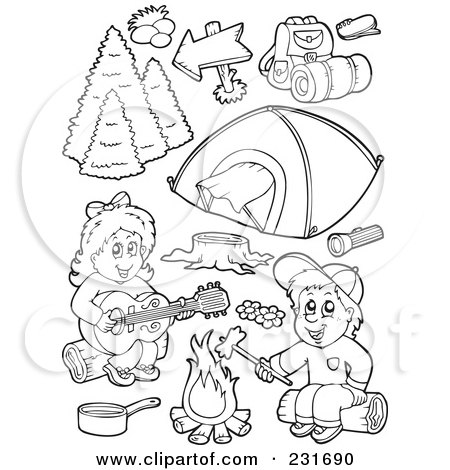 digital collage of coloring page outlines of camping kids and items posters art prints - Girl Scout Camping Coloring Pages