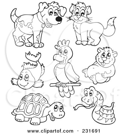 Royalty-Free (RF) Clipart Illustration of a Digital Collage Of Outlined Pets - 2 by visekart