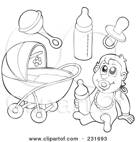 Royalty-Free (RF) Clipart Illustration of a Digital Collage Of Outlined Baby Stuff by visekart