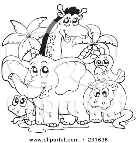 Coloring Pages on Illustration Of A Coloring Page Outline Of African Animals By Visekart