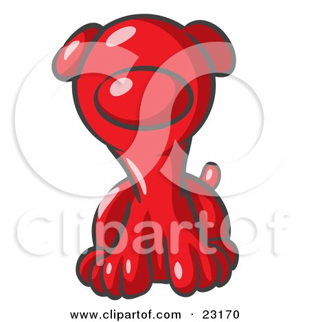 Clipart Illustration of a Cute Red Puppy Dog Looking Curiously at the Viewer by Leo Blanchette