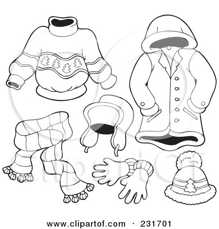 Royalty-Free (RF) Clipart Illustration of a Digital Collage Of Outlined Apparel - 4 by visekart