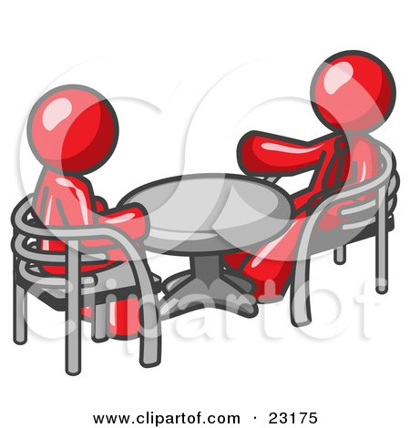 Clipart Illustration of Two Red Business Men Sitting Across From Eachother at a Table During a Meeting by Leo Blanchette