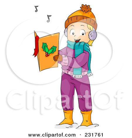 Royalty-Free (RF) Clipart Illustration of a Christmas Girl Singing Songs by BNP Design Studio