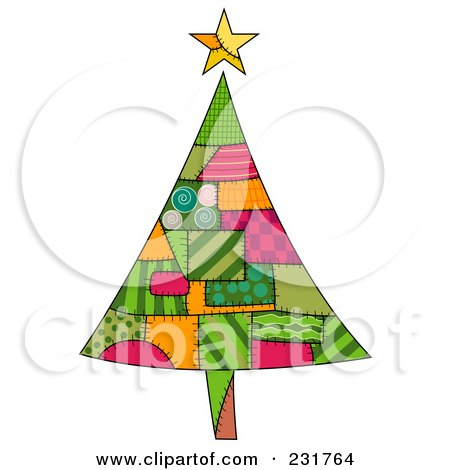 Royalty-Free (RF) Clipart Illustration of a Christmas Tree Of Patches by BNP Design Studio